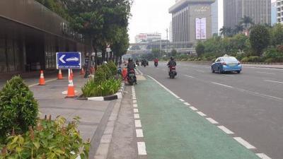 Jalur Sepeda Permanen di Jalan Sudirman-Thamrin Ditargetkan Rampung Maret