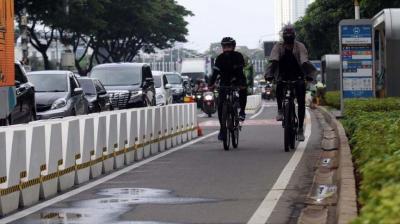 Jalur Sepeda Permanen di Sudirman Bakal Dijaga Ketat Polisi