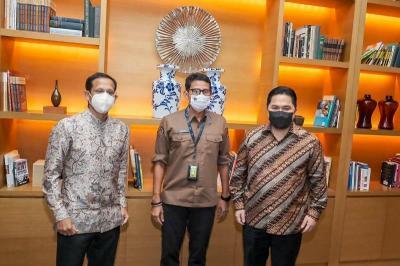 Sandiaga Uno, Erick Thohir dan Nadiem Makarim Kolaborasi Kembangkan Pariwisata