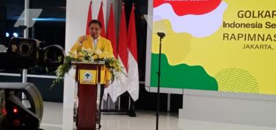 Berpantun Ria, Airlangga Tutup Pidato Politik Rapimnas Partai Golkar