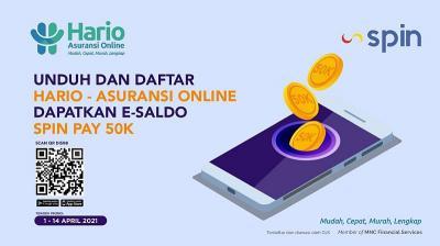 HARIO-Asuransi Online x SPIN Pay Bagi-bagi Saldo e-Money, Unduh Aplikasinya Sekarang!