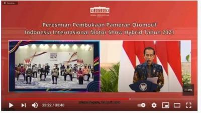 Virtual, Presiden Jokowi Resmi Buka Pameran Otomotif IIMS Hybrid 2021