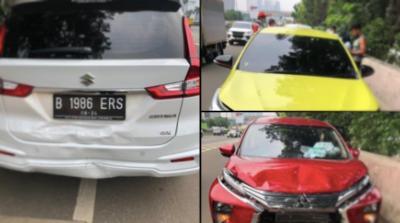 Tiga Mobil Terlibat Kecelakaan Beruntun di Tol JORR TB Simatupang