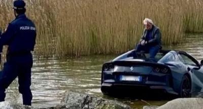 Gara-Gara Lupa Rem Tangan, Ferrari Seharga Rp13,5 Miliar Masuk ke Danau