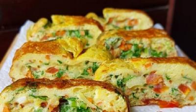 Resep Sahur Praktis Telur Dadar Gulung dengan Sayuran