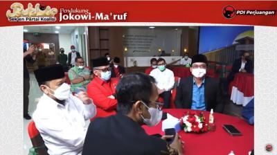 Nasi Liwet dan Es Blewah Satukan Sekjen Koalisi Jokowi di Markas Banteng