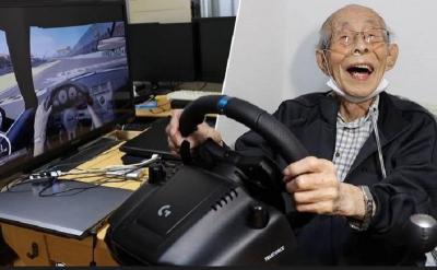 Hebat! Kakek 93 Tahun Piawai Jadi Pembalap Virtual