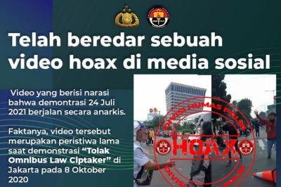 Beredar Video Demo Rusuh pada Sabtu 24 Juli 2021, Polri: Hoaks!