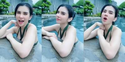 Maria Vania Basah-basahan dengan Bikini Hijau, Netizen: Mata Buaya Darat Melotot