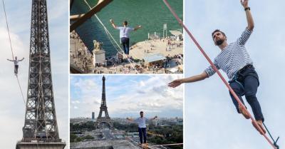 Gila! Pria Ini Berjalan di Seutas Tali dari Atas Menara Eiffel Melintasi Sungai Seine