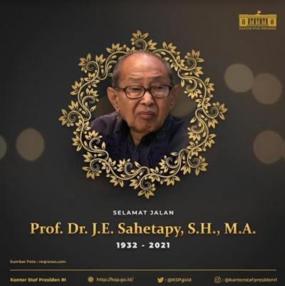 Guru Besar Unair J.E Sahetapy Tutup Usia, Istana Berduka