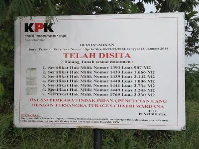 Pengembang Nekat Dirikan Bangunan di Tanah Sitaan, KPK Lapor Polda Banten