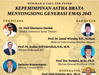 UNS Gelar Seminar Nasional Kepemimpinan Astha Brata Menyongsong Generasi Emas 2045