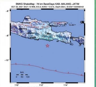 Gempa Magnitudo 5,3 Guncang Kabupaten Malang