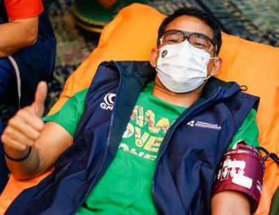Sandiaga Uno Ikut Donor Bantu Ketersediaan Darah di PMI