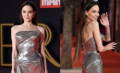 Pesona Angelina Jolie Berbalut Gaun Metalic di Premiere Eternals