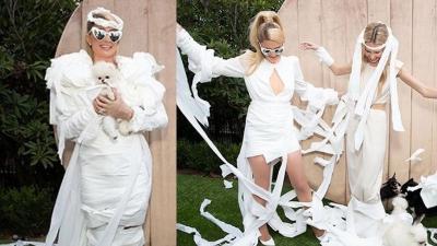 Intip Gaya Nyeleneh Paris Hilton Pakai Dress dari Tisu Toilet